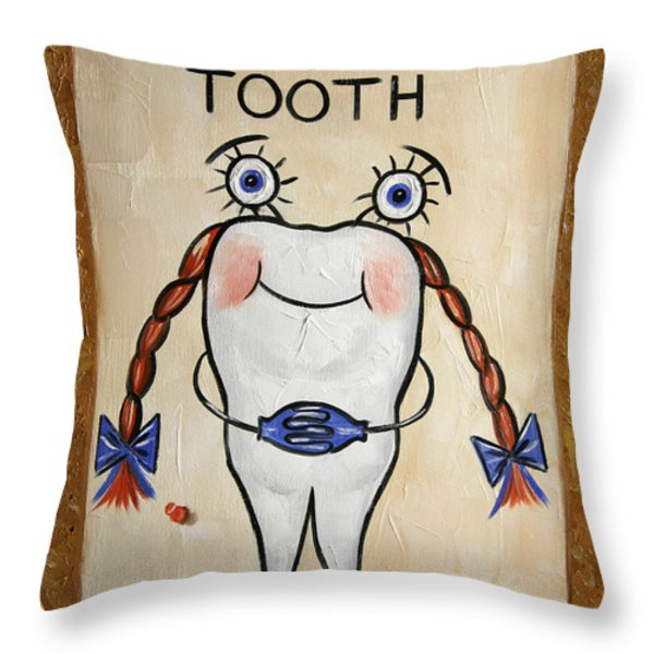 Missing Tooth Throw Pillow by Anthony Falbo