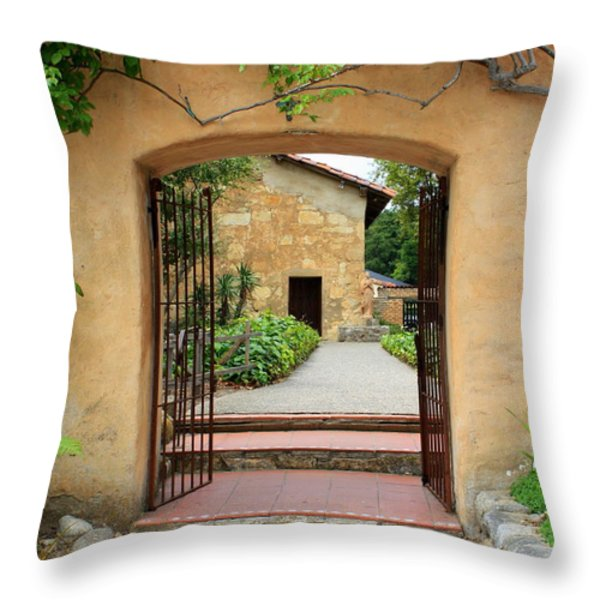 Mission Door With Scripture Throw Pillow by Carol Groenen