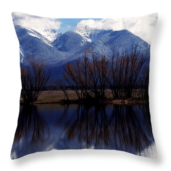 Mission Mountains Montana Throw Pillow by Thomas R Fletcher
