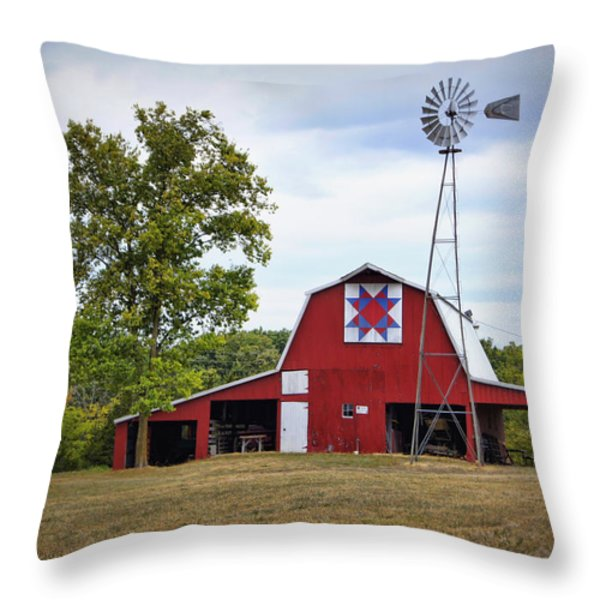 Missouri Star Quilt Barn Throw Pillow by Cricket Hackmann