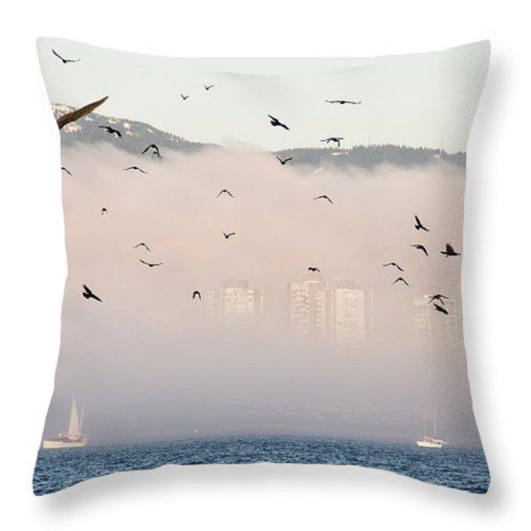 Misty City Throw Pillow by James Wheeler
