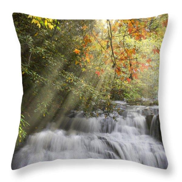 Misty Falls At Coker Creek Throw Pillow by Debra and Dave Vanderlaan