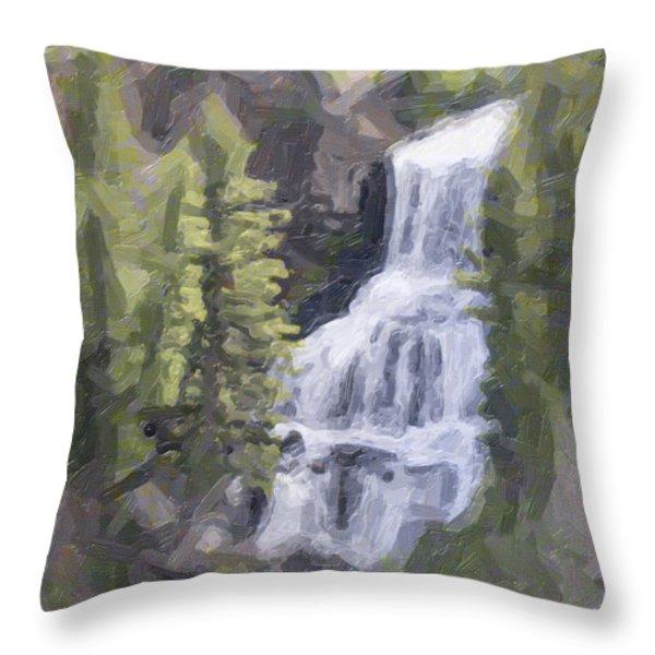 Misty Falls Throw Pillow by Jo-Anne Gazo-McKim