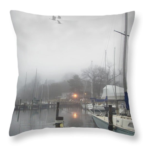 Misty Harbor Lights Throw Pillow by Brian Wallace