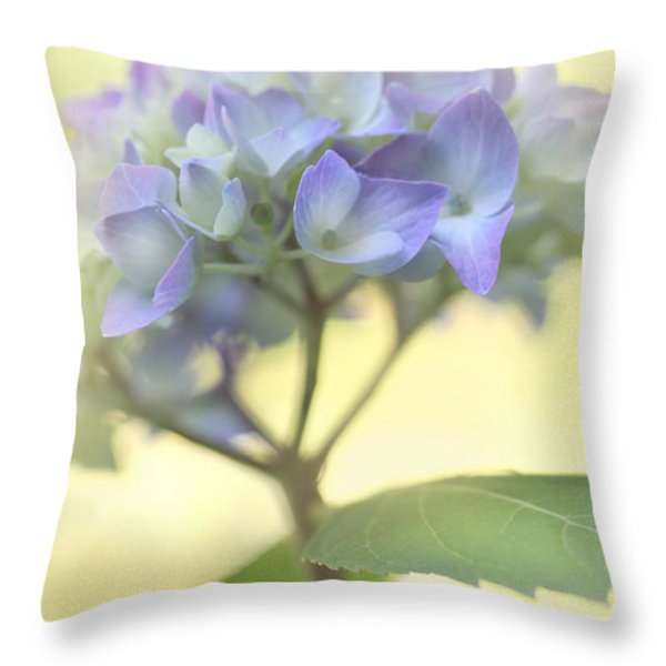 Misty Hydrangea Flower Throw Pillow by Jennie Marie Schell