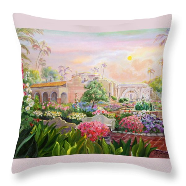 Misty Morning at Mission San Juan Capistrano  Throw Pillow by Jan Mecklenburg