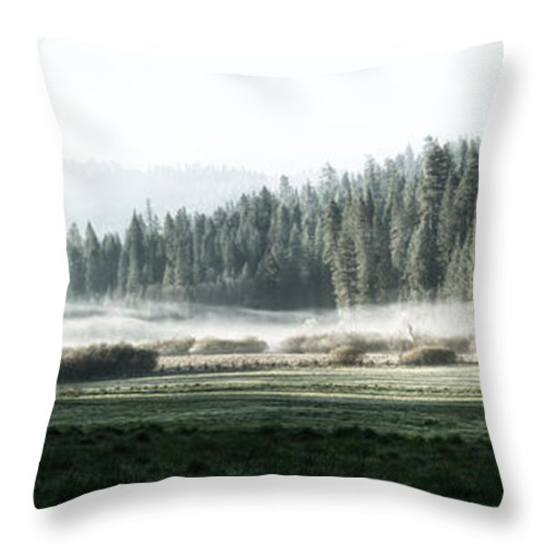 Misty Morning In Yosemite Throw Pillow by Jane Rix