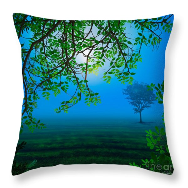Misty Night Throw Pillow by Bedros Awak