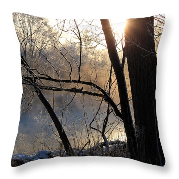 Misty River Sunrise Throw Pillow by Hanne Lore Koehler