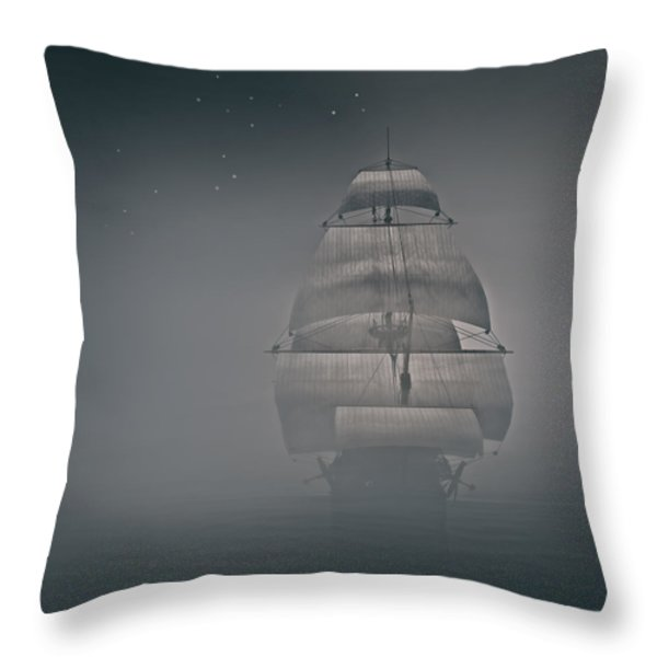 Misty Sail Throw Pillow by Lourry Legarde