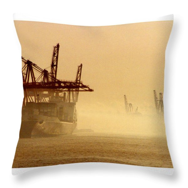Misty Seattle Waterfront Throw Pillow by Jack Pumphrey