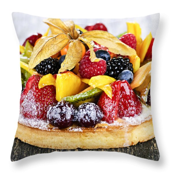 Mixed Tropical Fruit Tart Throw Pillow by Elena Elisseeva