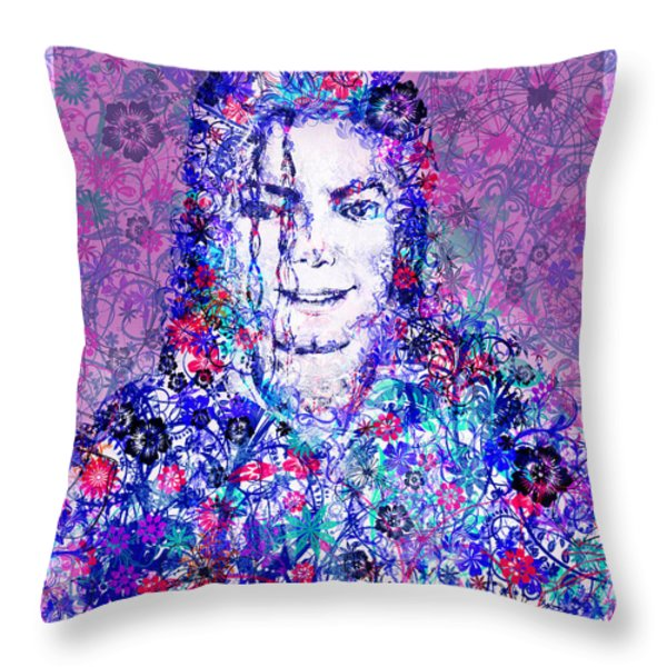Mj Floral Version Throw Pillow by MB Art factory