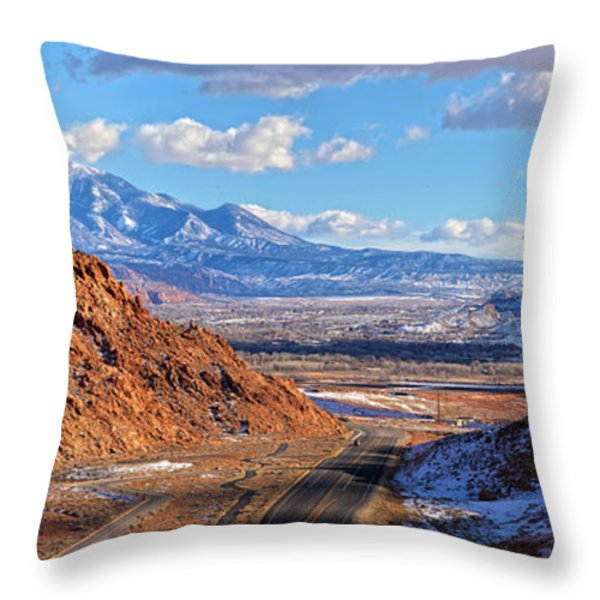 Moab Fault Medium Panorama Throw Pillow by Adam Jewell