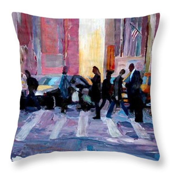 Mobile Society Crosswalking New York City Throw Pillow by M Bleichner
