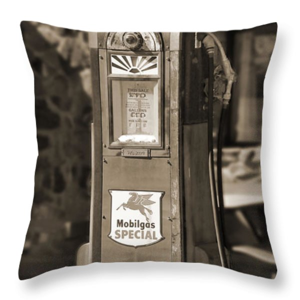 Mobilgas Special - Wayne Pump - Sepia Throw Pillow by Mike McGlothlen