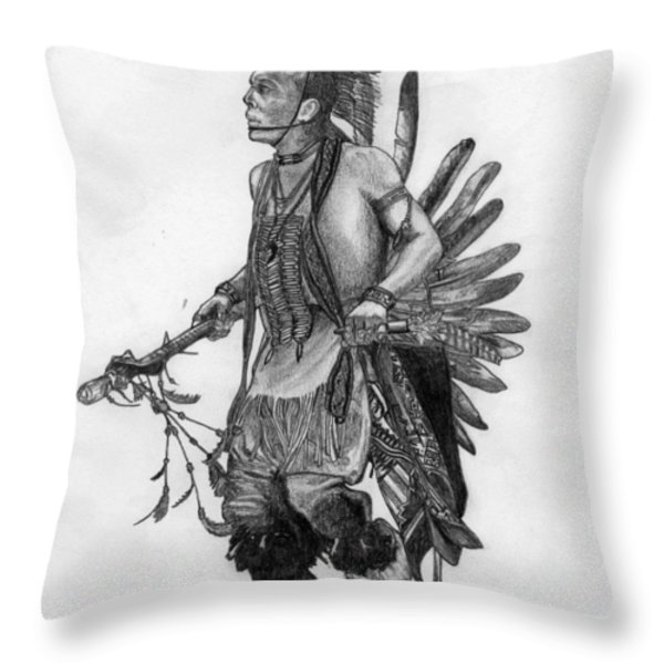 Mohawk Dancer Throw Pillow by Lew Davis