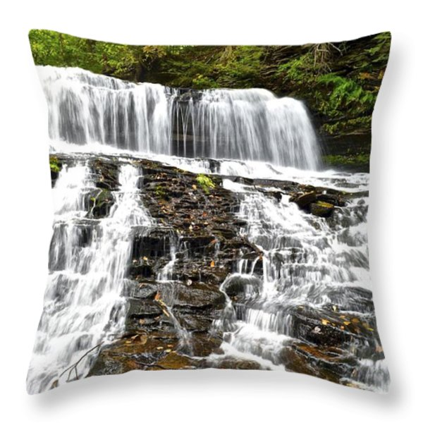 Mohawk Falls Throw Pillow by Frozen in Time Fine Art Photography