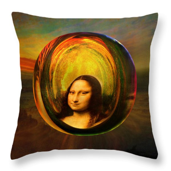 Mona Lisa Circondata Throw Pillow by Robin Moline