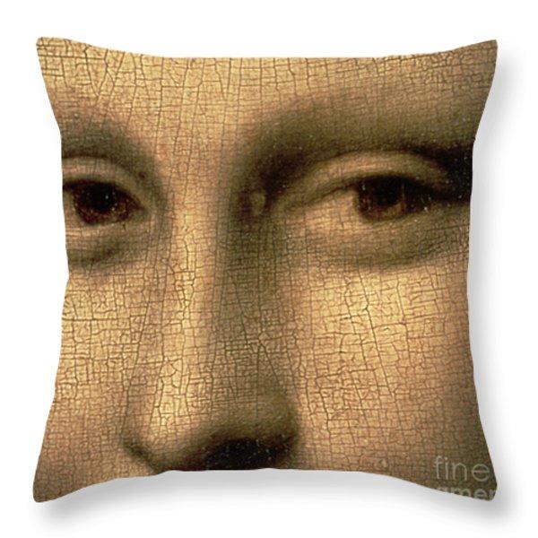 Mona Lisa    Detail Throw Pillow by Leonardo Da Vinci