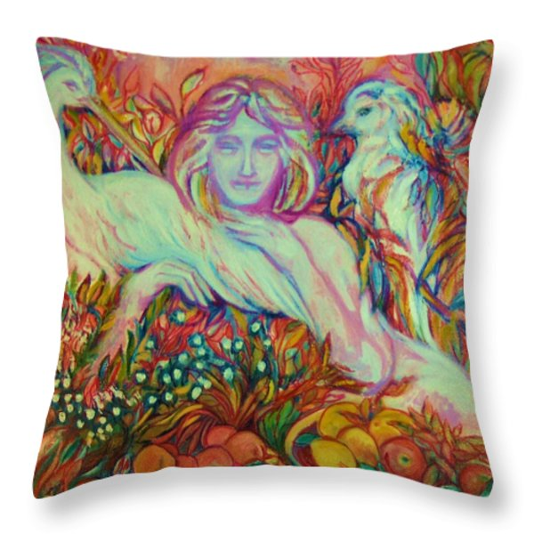 Mona - Pop Art Throw Pillow by Gunter  Hortz