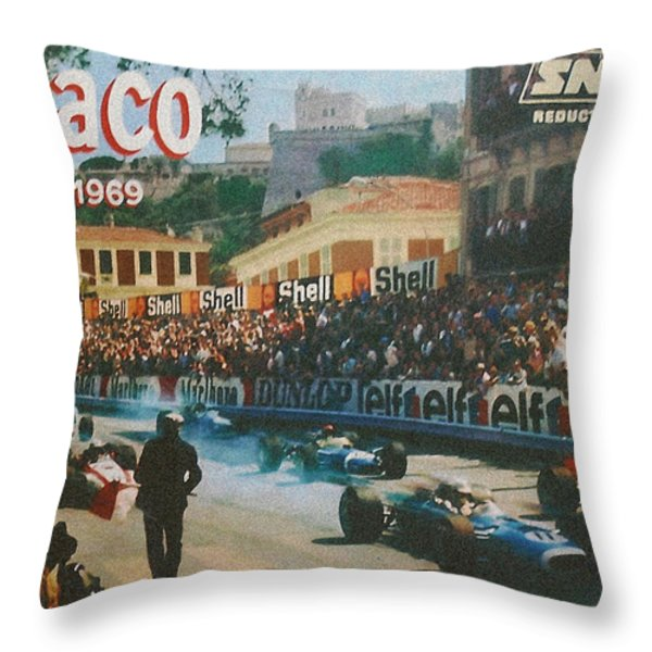 Monaco 1969 Throw Pillow by Nomad Art And  Design