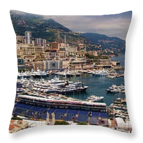 Monaco Panorama Throw Pillow by David Smith