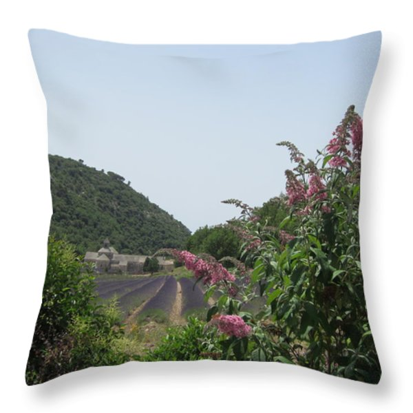Monastery Lavender And Lilac Throw Pillow by Pema Hou