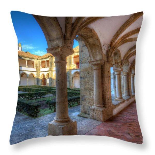Monastery Of Nossa Senhora Da Assuncao Throw Pillow by English Landscapes