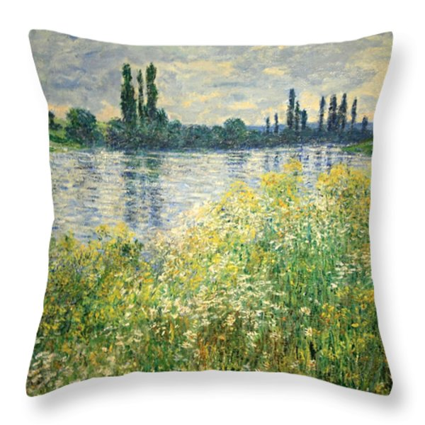 Monet's Banks Of The Seine At Vetheuil Throw Pillow by Cora Wandel