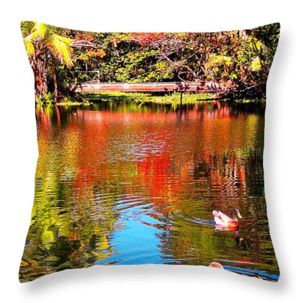 Monet's Garden In Hawaii 2 Throw Pillow by Jerome Stumphauzer