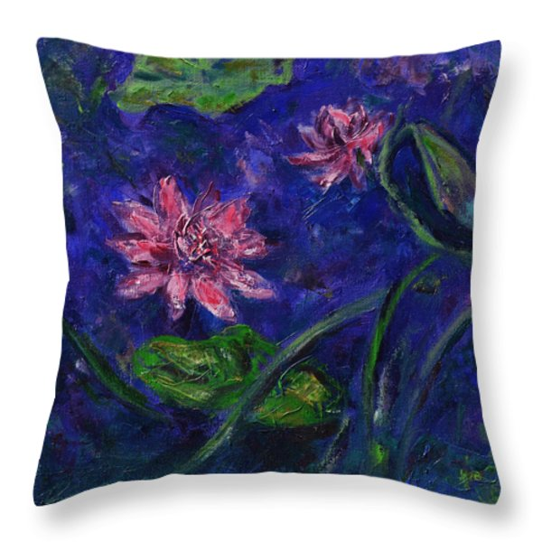 Monet's Lily Pond II Throw Pillow by Xueling Zou