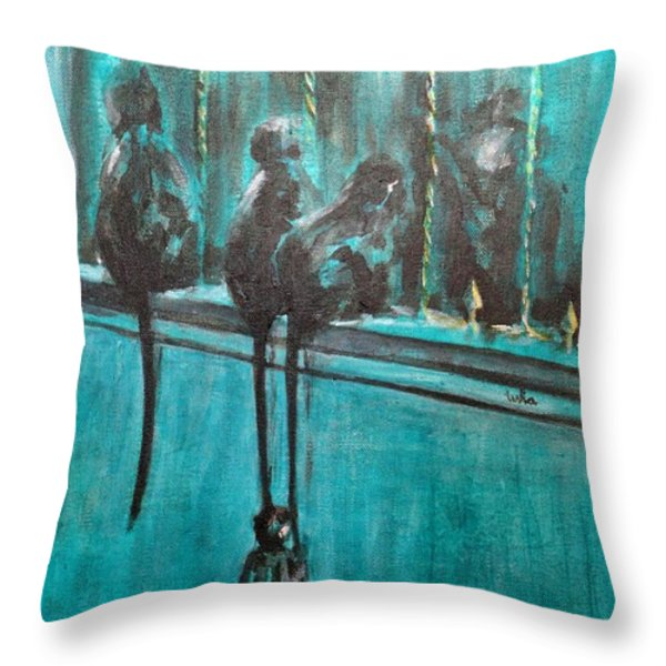 Monkey Swing Throw Pillow by Usha Shantharam