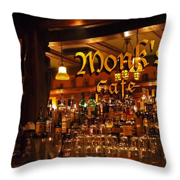 Monks Cafe Throw Pillow by Rona Black
