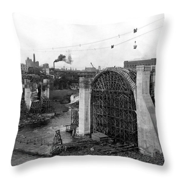 MONROE ST BRIDGE CONSTRUCTION 1910 Throw Pillow by Daniel Hagerman