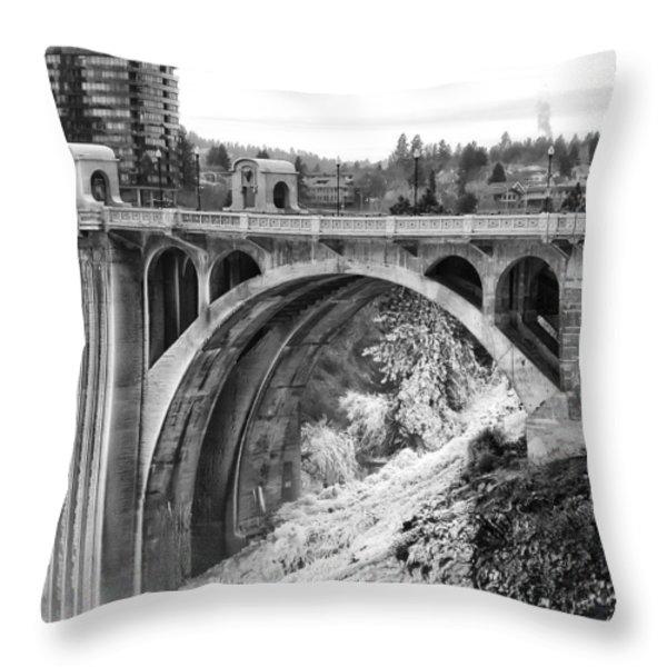 Monroe Street Bridge Iced Over - Spokane Washington Throw Pillow by Daniel Hagerman