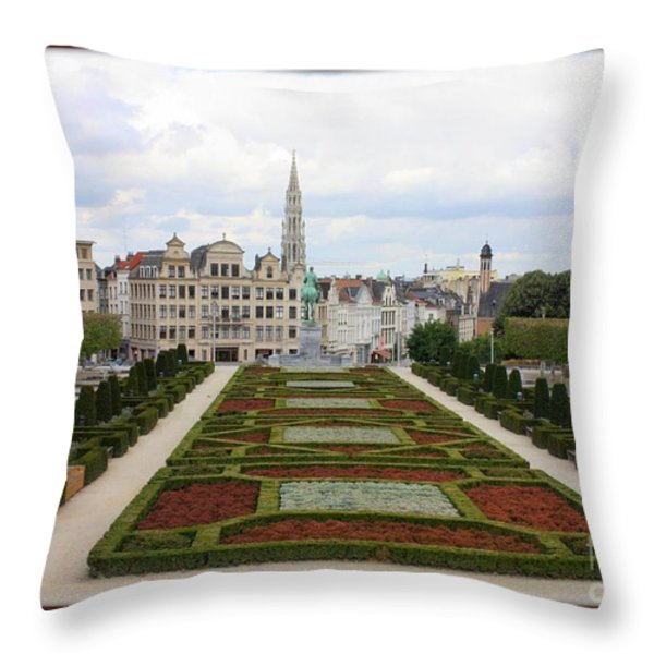 Mont des Arts towards the Grand Place Throw Pillow by Carol Groenen