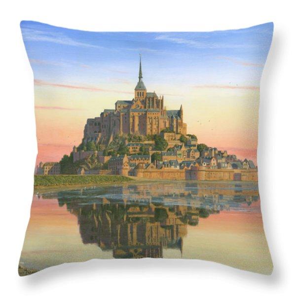 Mont Saint-michel Morn Throw Pillow by Richard Harpum