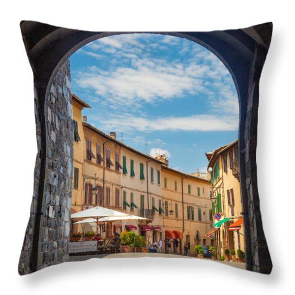 Montalcino Loggia Throw Pillow by Inge Johnsson