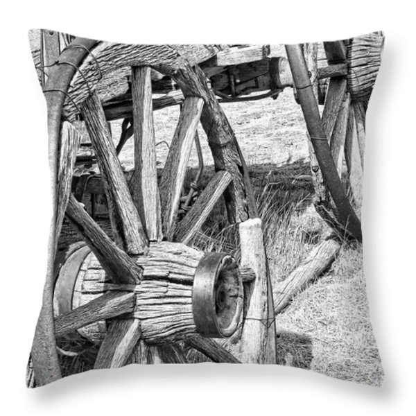 Montana Old Wagon Wheels Monochrome Throw Pillow by Jennie Marie Schell