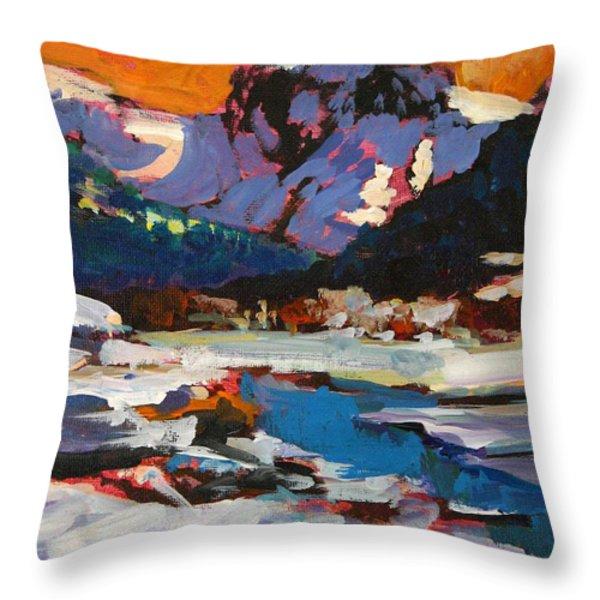 Montana Snow  Plein Air Throw Pillow by Mike Savlen