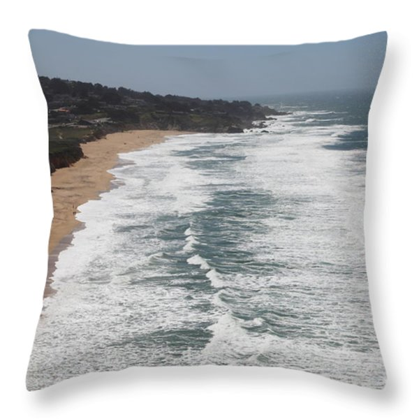 Montara State Beach Pacific Coast Highway California 5d22622 Throw Pillow by Wingsdomain Art and Photography