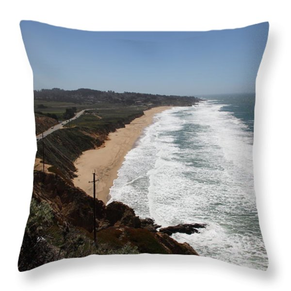 Montara State Beach Pacific Coast Highway California 5d22624 Throw Pillow by Wingsdomain Art and Photography