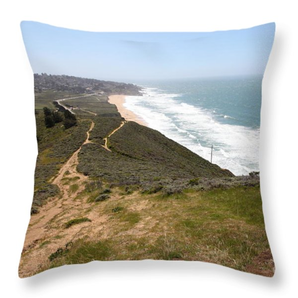 Montara State Beach Pacific Coast Highway California 5d22633 Throw Pillow by Wingsdomain Art and Photography