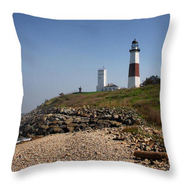 Montauk Lighthouse Throw Pillow by Alida Thorpe