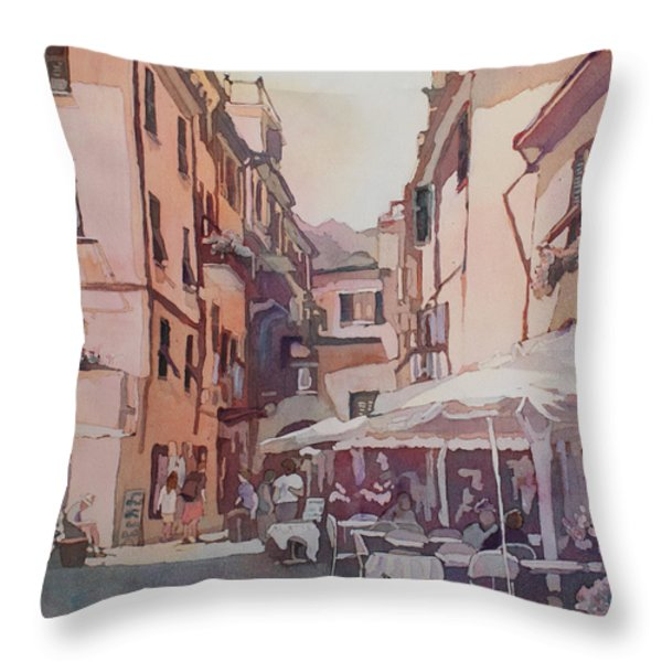 Monterosso Cafe Throw Pillow by Jenny Armitage