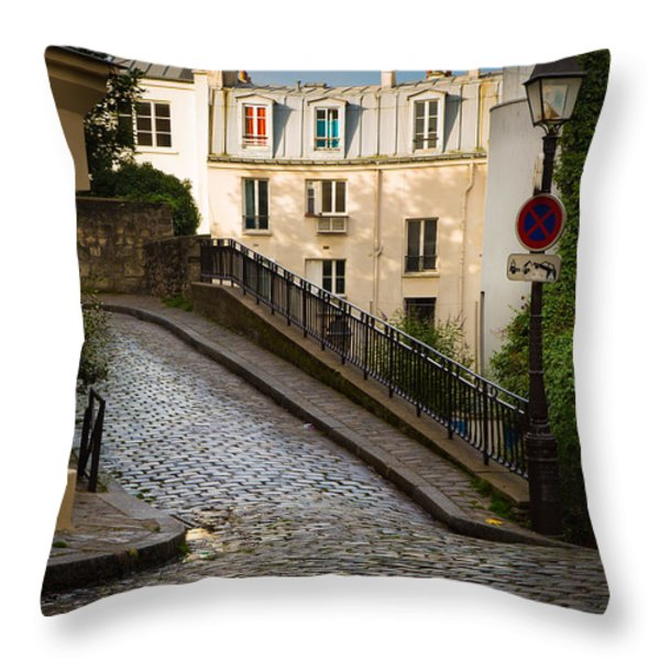 Montmartre Alley Throw Pillow by Inge Johnsson