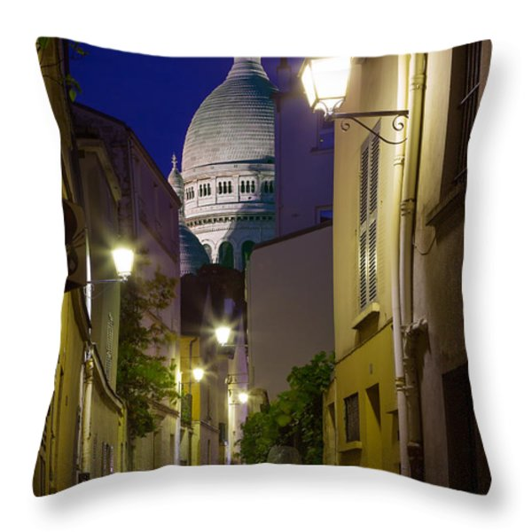 Montmartre Street and Sacre Coeur Throw Pillow by Inge Johnsson