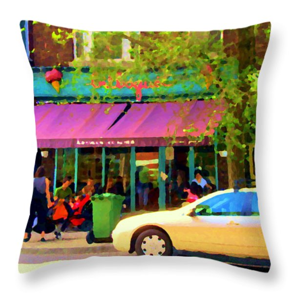 Montreal Cafe Scenes Beautiful Bilboquet On Bernard Creme Glacee Summer City Scene Carole Spandau  Throw Pillow by Carole Spandau
