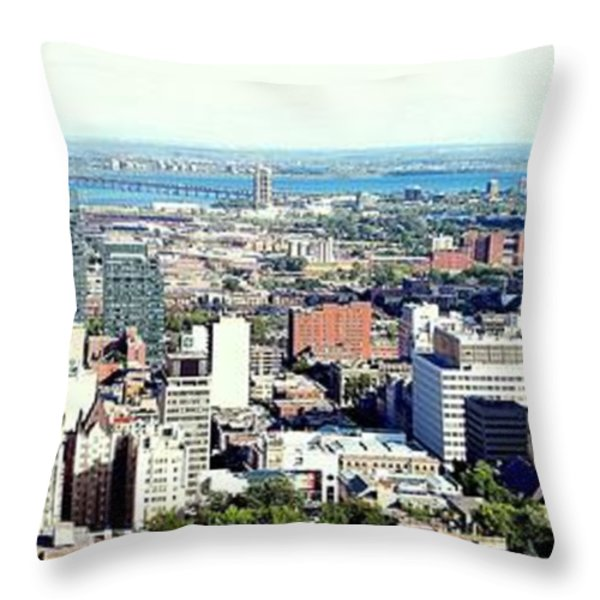 Montreal City View From Mont Royal Throw Pillow by Lingfai Leung